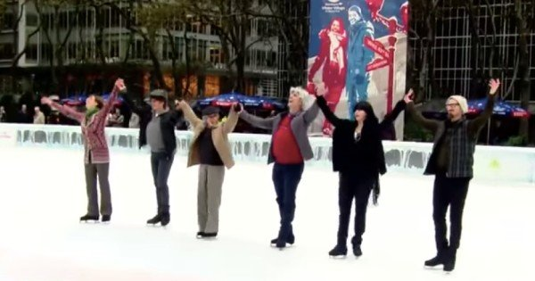 Olympic ice skaters pose as beginners