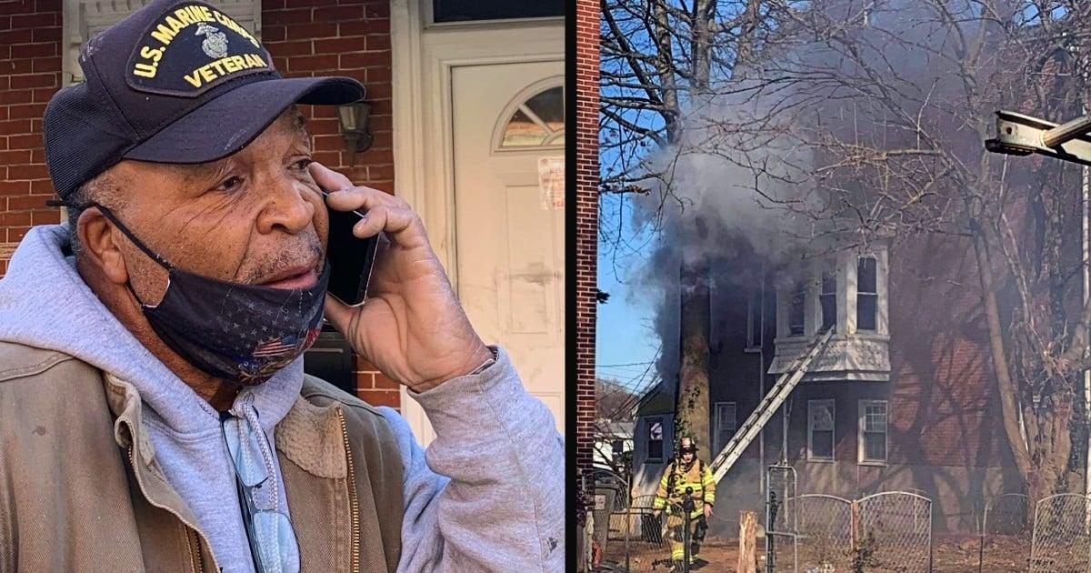 a burning building veteran rescue