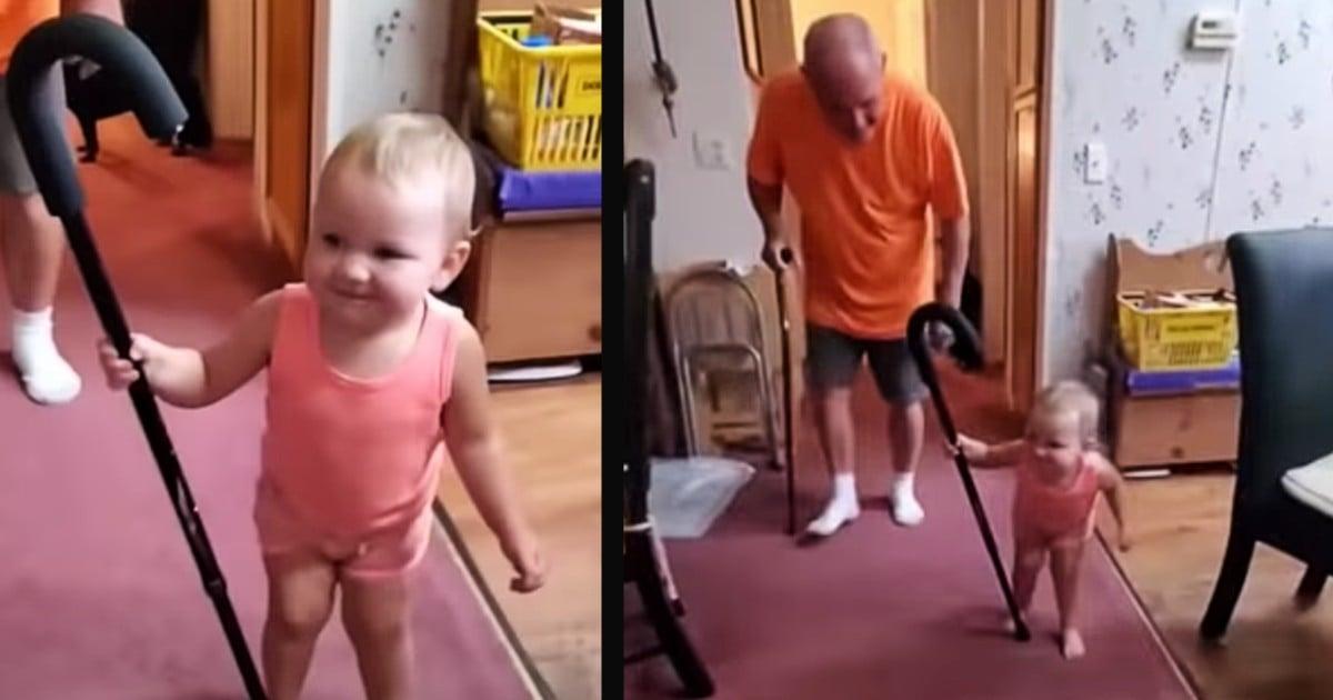 baby walking like grandpa with cane