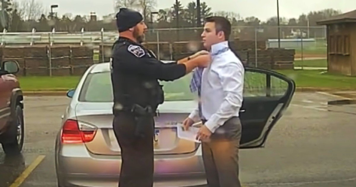 pulled over for speeding tying tie