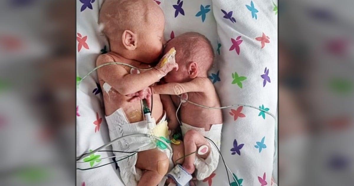 twin baby hug