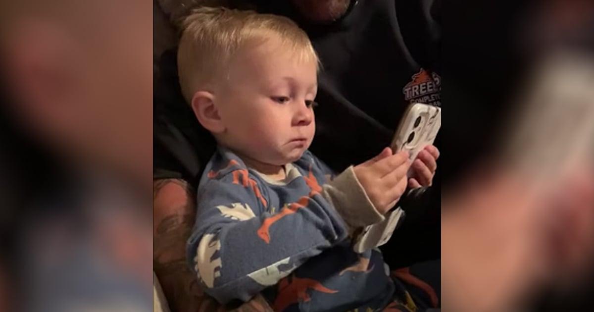 little boy's reaction wedding photos