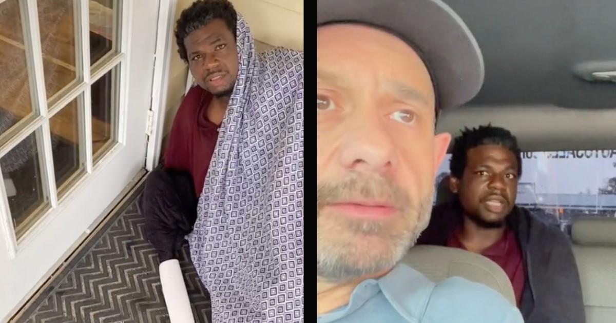 louisiana car dealer homeless man sleeping on porch