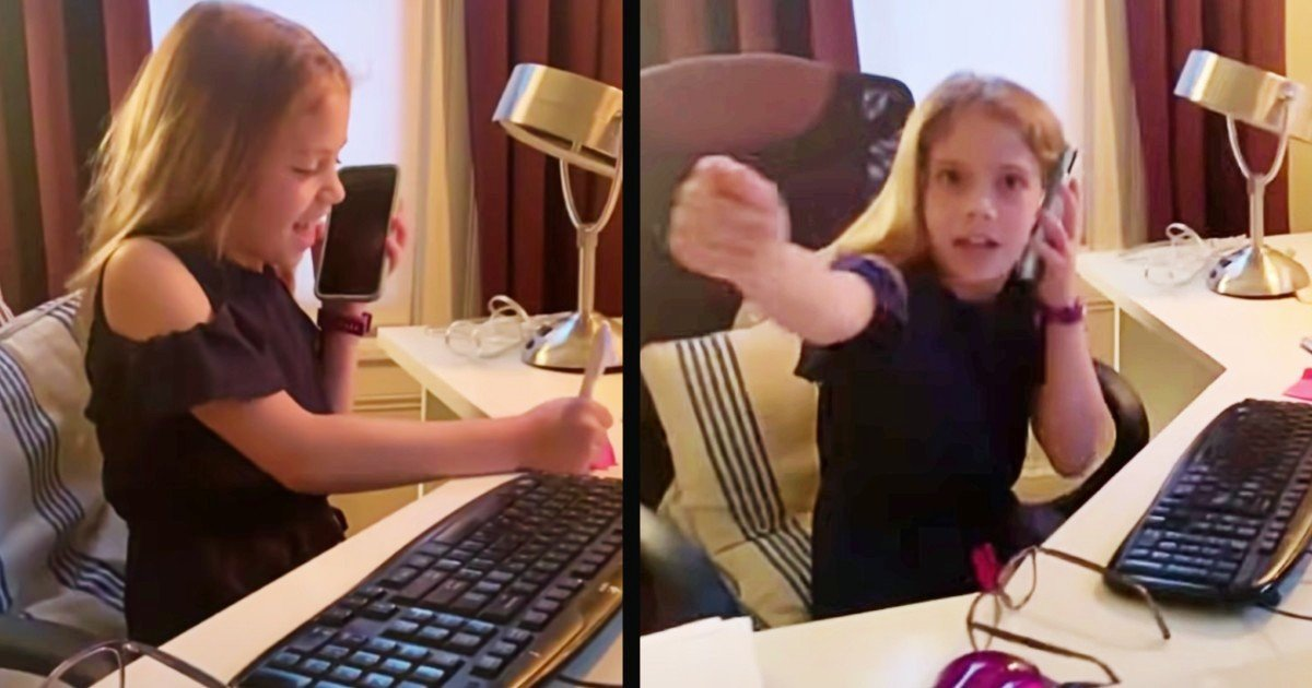 mom working from home impression by daughter