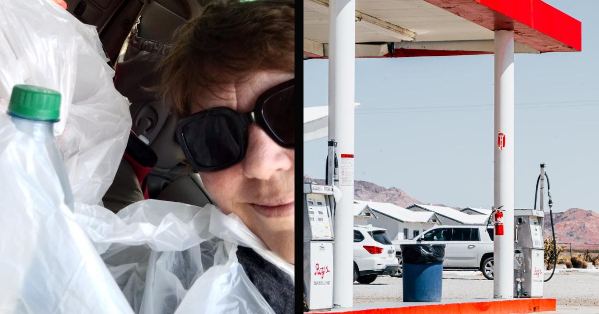 barbara mack homeless man at gas station